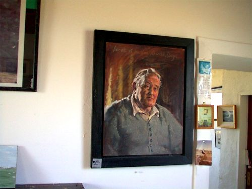 Painting of Derek Hill hanging in Dixon's Gallery, Tory Island